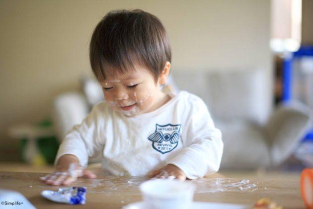 テーブル ヨーグルト 塗る 子ども やんちゃ
